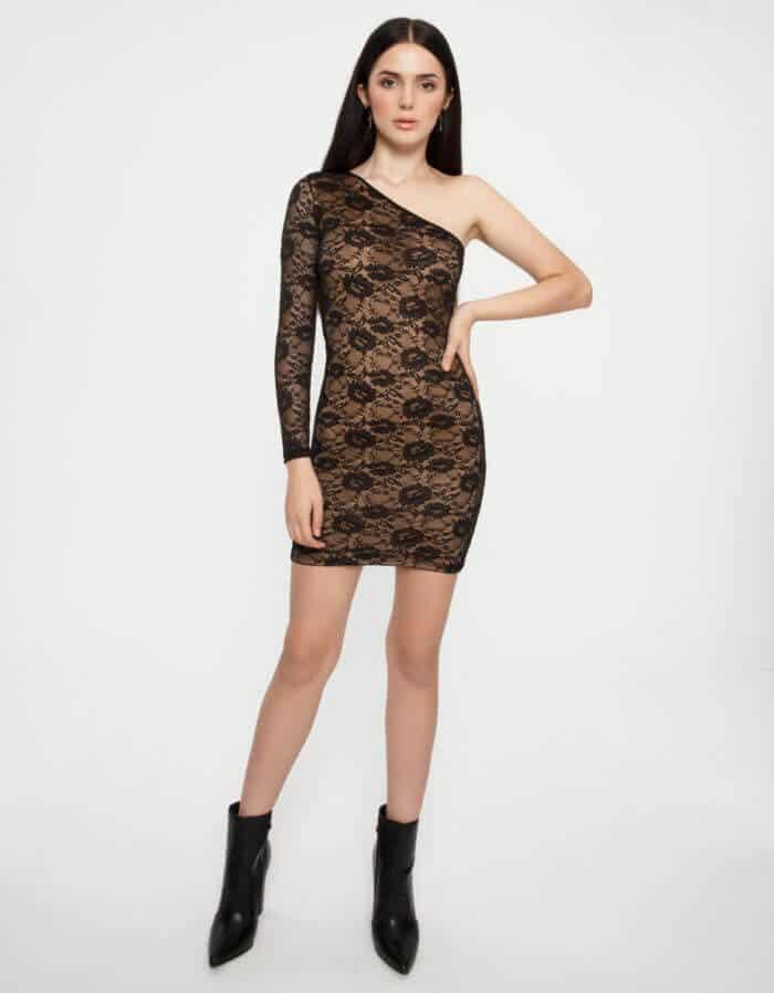 Φόρεμα δαντέλα με έναν ώμο 1