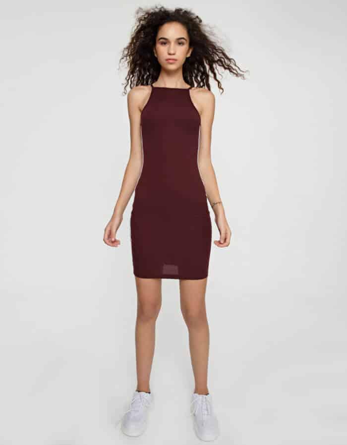 Φόρεμα ριπ τιράντα με τρέσα στο πλάι 1