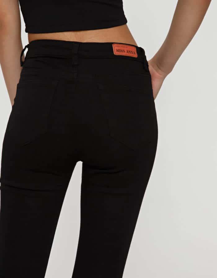 Παντελόνι μαύρο με σκίσιμο στο γόνατο 2