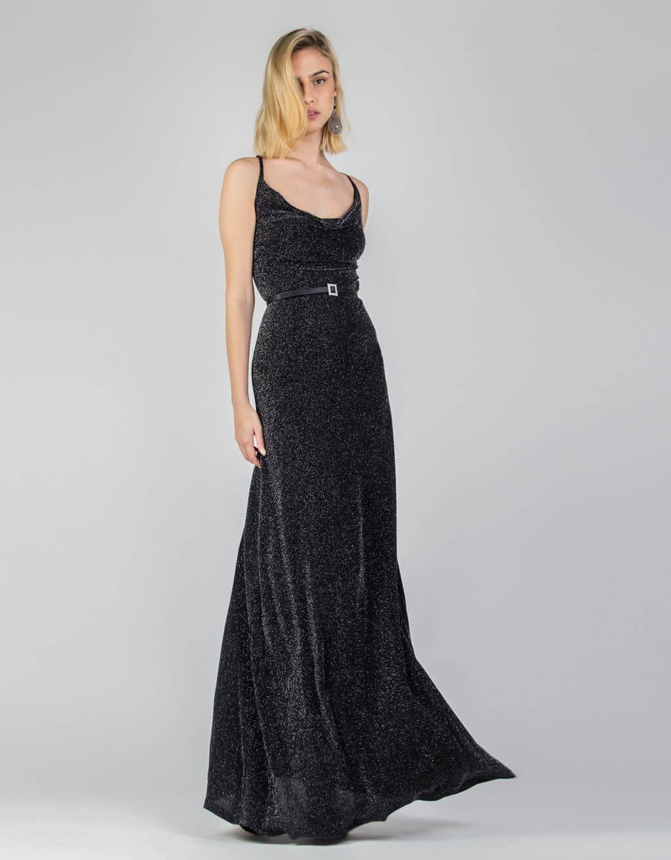 Φόρεμα λούρεξ, ντραπέ maxi 1