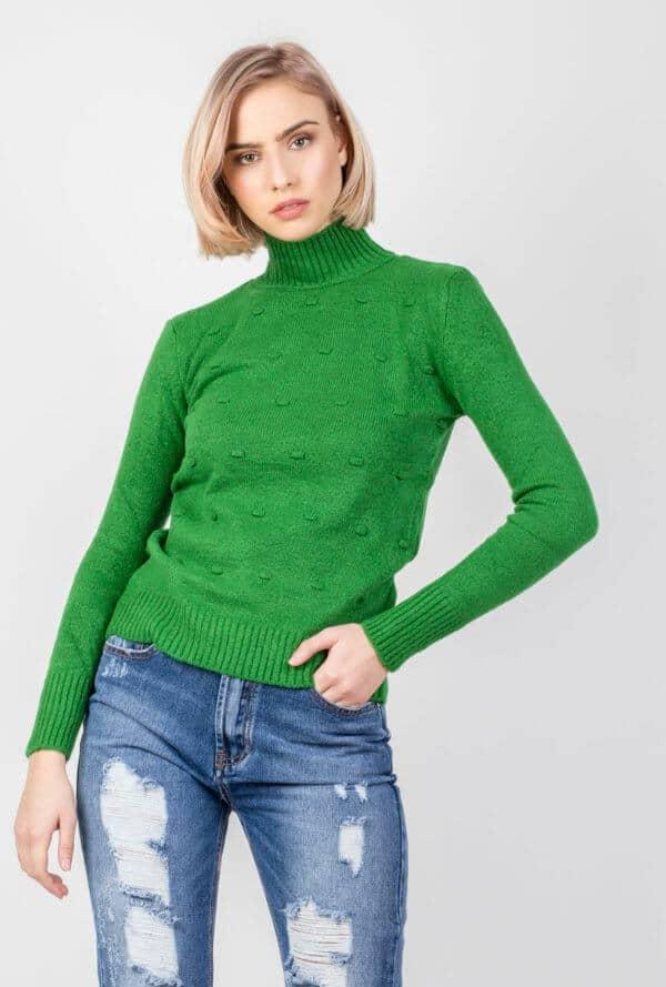 Πλεκτή Μπλούζα Ζιβάγκο σε Πράσινο Χρώμα