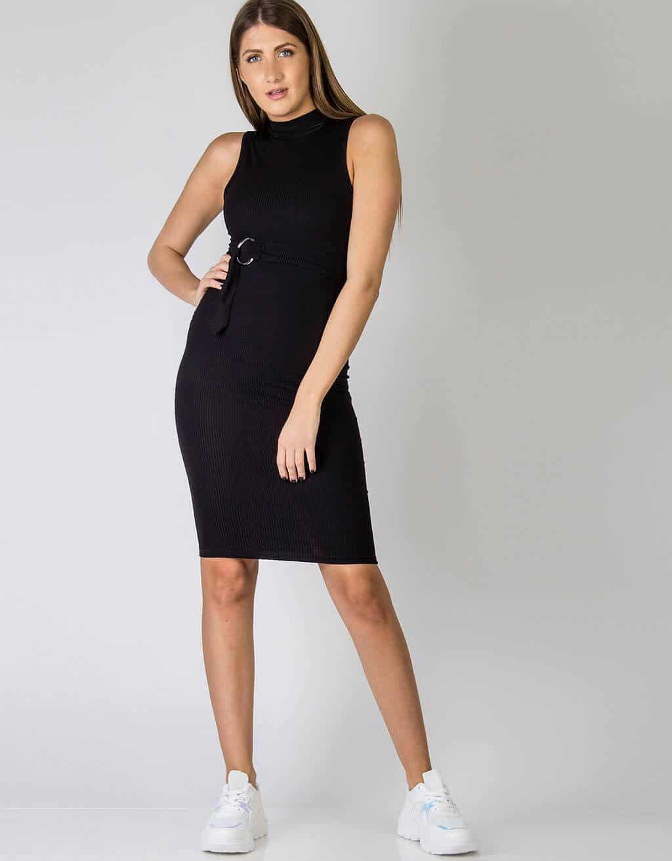 Φόρεμα rib, με ζώνη στην μέση 1