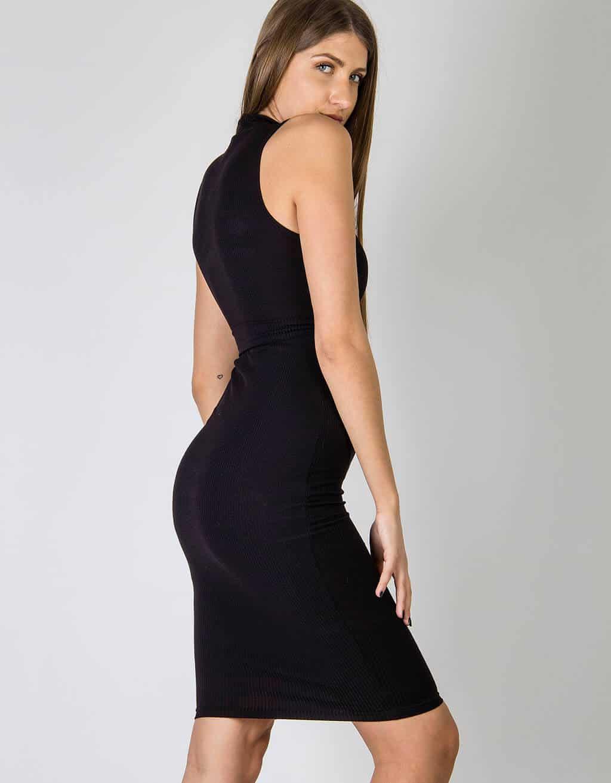 Φόρεμα rib, με ζώνη στην μέση 4