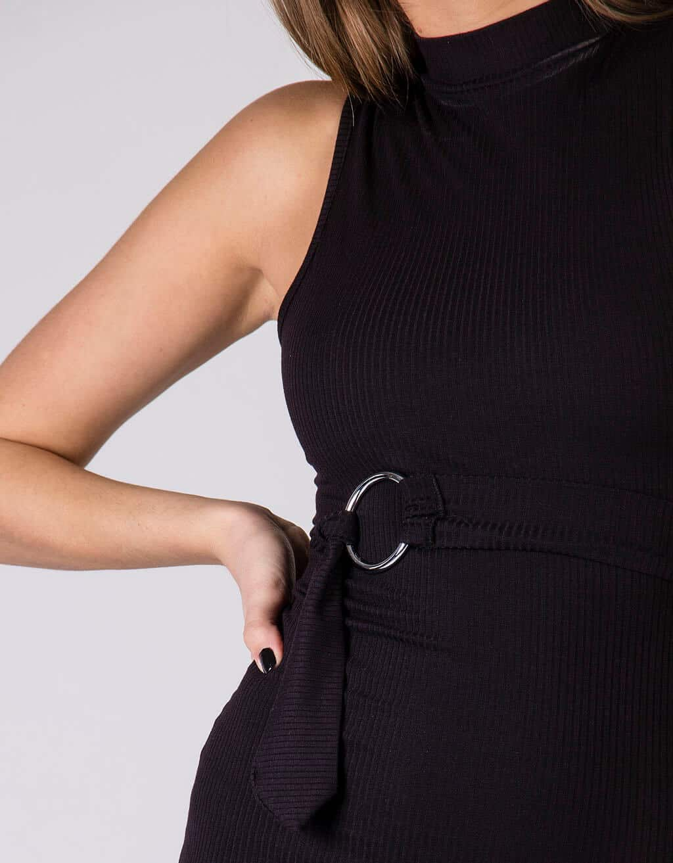 Φόρεμα rib, με ζώνη στην μέση 2
