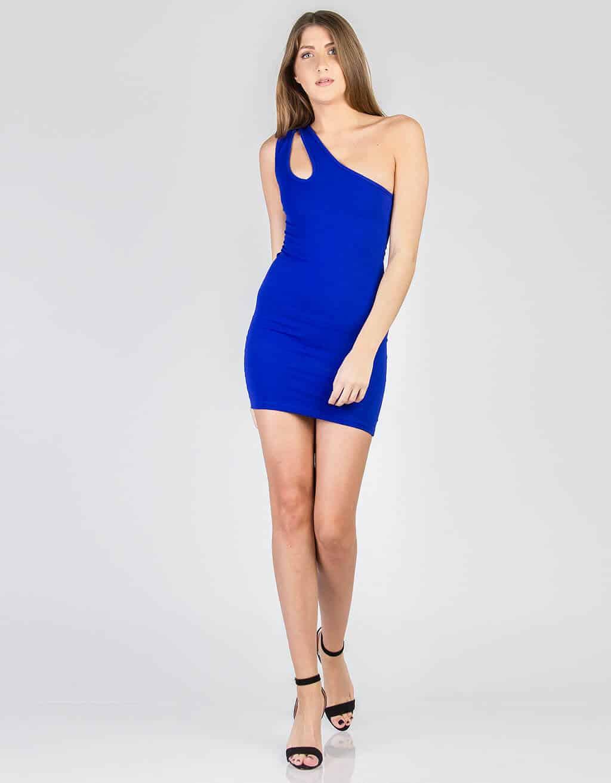 Φόρεμα με έναν ώμο και χαρακιά 1