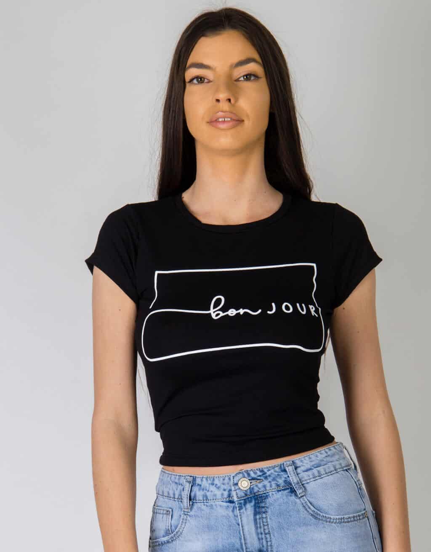 Crop t-shirt με στάμπα «bon JOUR» 2