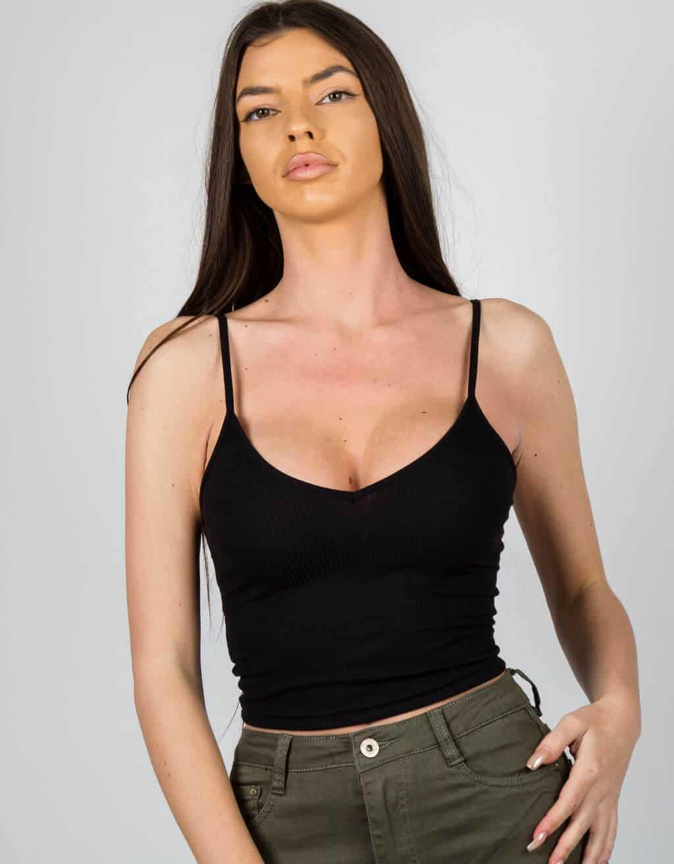 ea779f516076 Crop top rib λεπτή τιράντα – Makenzy e-store
