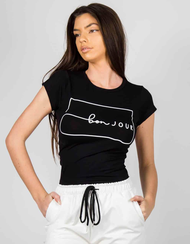 Crop t-shirt με στάμπα «bon JOUR» 1