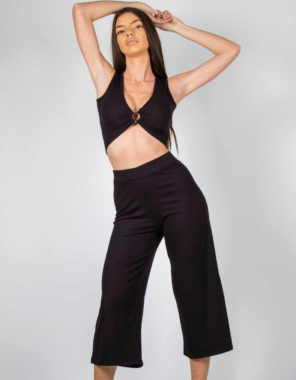 Παντελόνι ζυπ-κιλοτ rib ψηλόμεσο 3