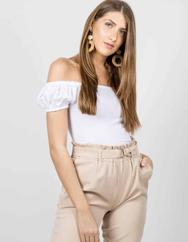 Μπλούζα με παρτούς ώμους και φούσκα μανίκι 3