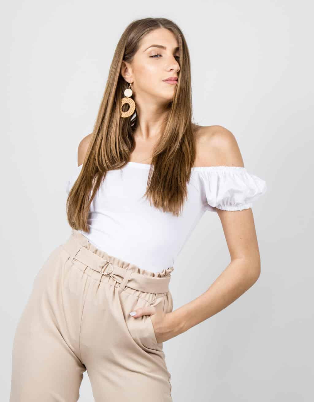 Μπλούζα με παρτούς ώμους και φούσκα μανίκι 1