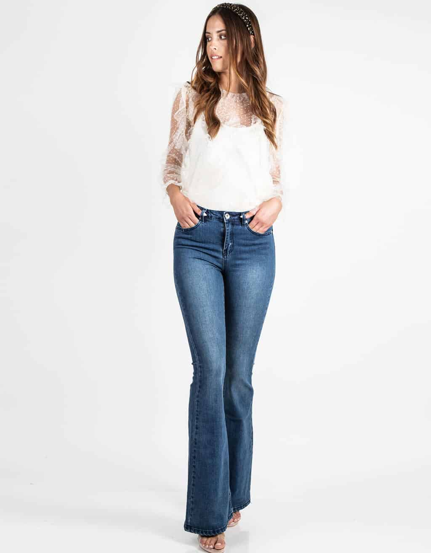 Παντελόνι Τζιν Καμπάνα Ψηλόμεσο σε Μπλε Χρώμα