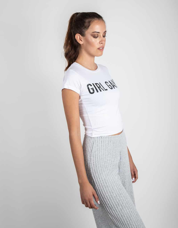 CROP TOP ΛΕΥΚΟ ΜΕ ΣΤΑΜΠΑ (GIRL GANG) 2