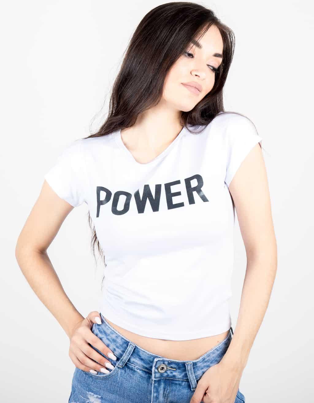 CROP TOP ΛΕΥΚΟ ΜΕ ΣΤΑΜΠΑ (POWER) 1